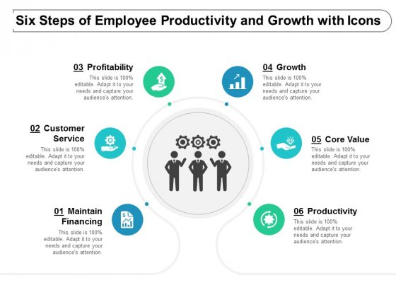 Six Steps Of Employee Productivity And Growth With Icons Ppt Powerpoint Presentation Portfolio Ideas