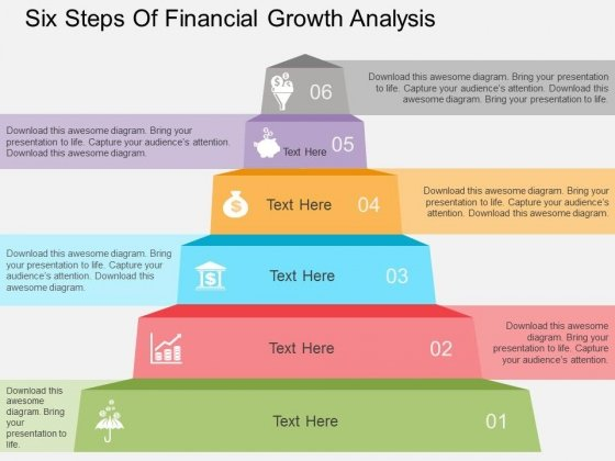 Six Steps Of Financial Growth Analysis Powerpoint Templates