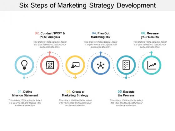Six Steps Of Marketing Strategy Development Ppt PowerPoint Presentation Layouts File Formats
