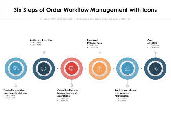 Six Steps Of Order Workflow Management With Icons Ppt PowerPoint Presentation Rules PDF