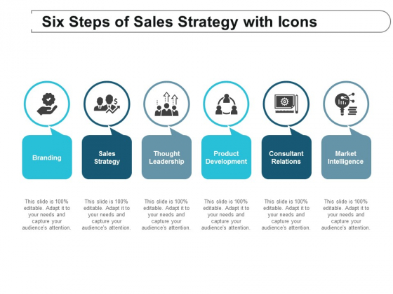Six Steps Of Sales Strategy With Icons Ppt Powerpoint Presentation Outline Grid