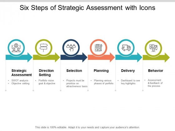 Six Steps Of Strategic Assessment With Icons Ppt PowerPoint Presentation File Model