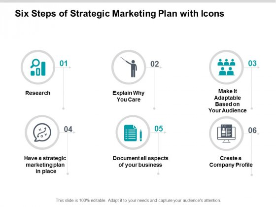 Six Steps Of Strategic Marketing Plan With Icons Ppt Powerpoint Presentation Ideas Microsoft