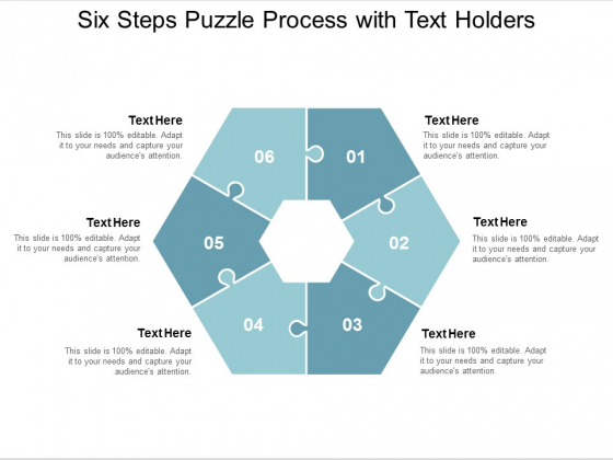 six steps puzzle process with text holders ppt powerpoint presentation gallery picture