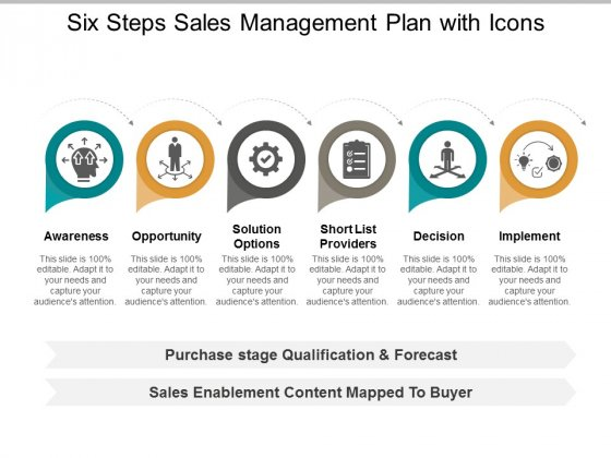 Six Steps Sales Management Plan With Icons Ppt Powerpoint Presentation Styles Format
