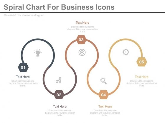 Six Steps Spiral Chart With Business Icons Powerpoint Template