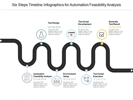 Six Steps Timeline Infographics For Automation Feasibility Analysis Ppt PowerPoint Presentation File Example File