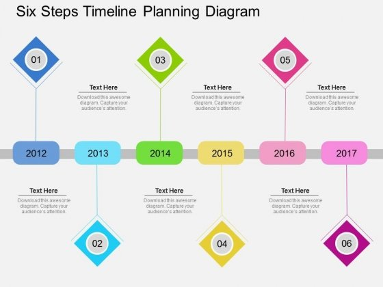six steps timeline planning diagram powerpoint template powerpoint