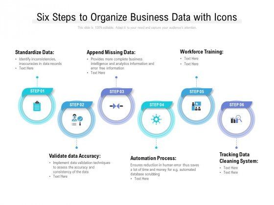 Six Steps To Organize Business Data With Icons Ppt File Grid PDF