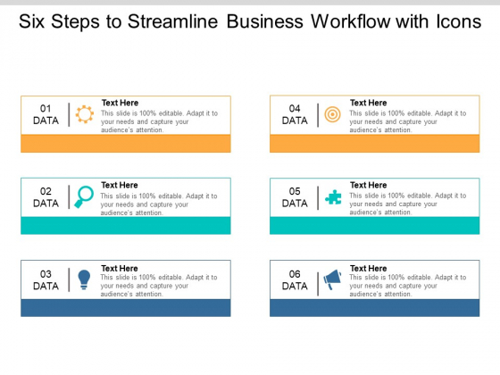 Six Steps To Streamline Business Workflow With Icons Ppt PowerPoint Presentation Summary Background Images