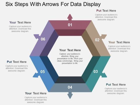 Six Steps With Arrows For Data Display Powerpoint Template