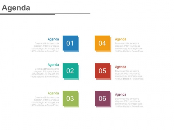 Six Tags For Business Agenda Analysis Powerpoint Slides