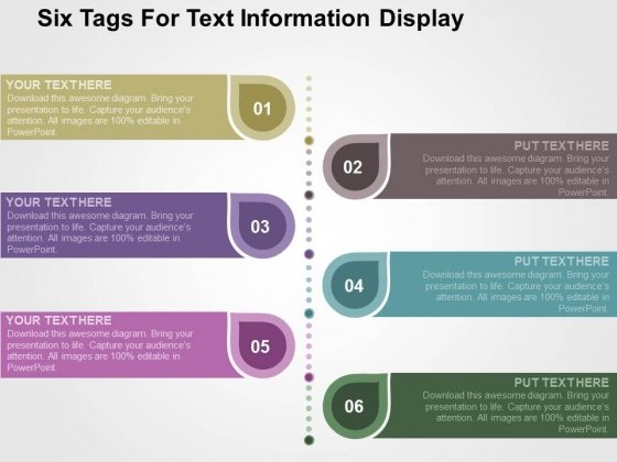 Six Tags For Text Information Display PowerPoint Templates