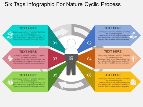 Six Tags Infographic For Nature Cyclic Process Powerpoint Template