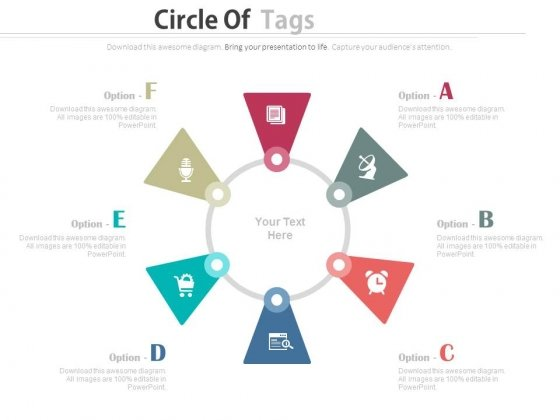 Six Tags On Circle For Business Communication PowerPoint Slides