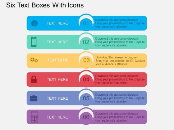 Six Text Boxes With Icons Powerpoint Template