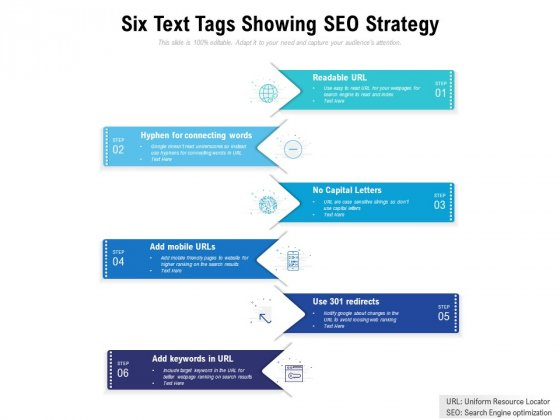 Six Text Tags Showing SEO Strategy Ppt PowerPoint Presentation Portfolio Smartart
