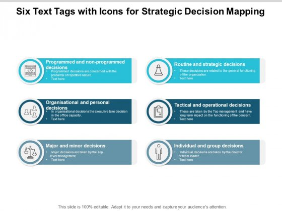 Six Text Tags With Icons For Strategic Decision Mapping Ppt PowerPoint Presentation Icon Vector
