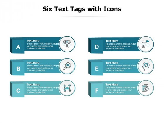 Six Text Tags With Icons Ppt PowerPoint Presentation Infographic Template Example Topics