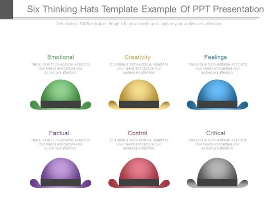Six Thinking Hats Template Example Of Ppt Presentation