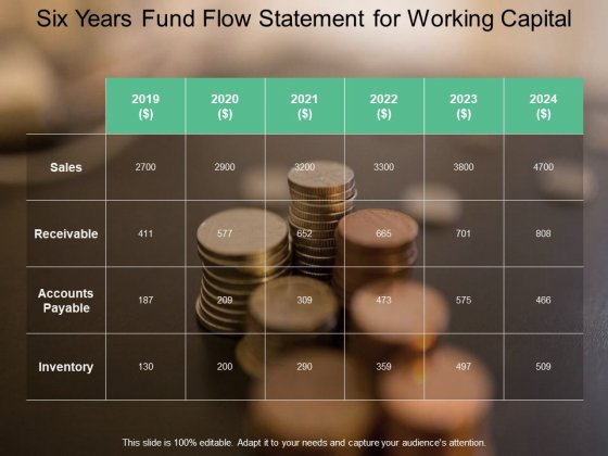 Six Years Fund Flow Statement For Working Capital Ppt PowerPoint Presentation Pictures Slide Portrait