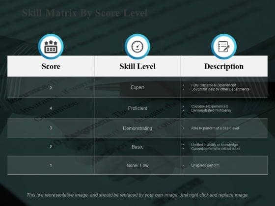 Skill Matrix By Score Level Ppt PowerPoint Presentation Themes