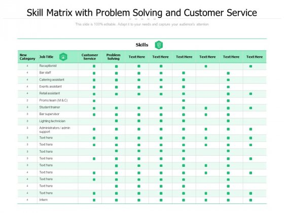 Skill Matrix With Problem Solving And Customer Service Ppt PowerPoint Presentation Professional Display PDF