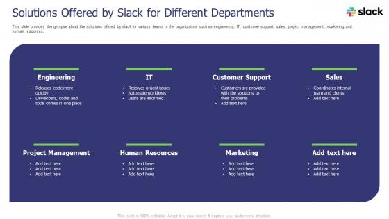 Slack Investor Pitch Deck Solutions Offered By Slack For Different Departments Ppt Show Inspiration PDF