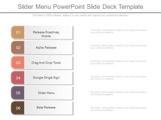 Slider Menu Powerpoint Slide Deck Template Powerpoint Templates