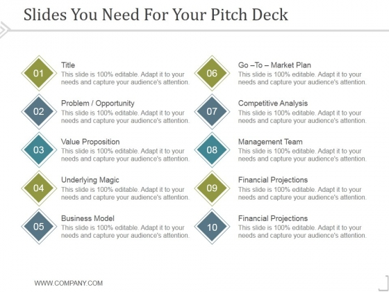 Slides You Need For Your Pitch Deck Ppt PowerPoint Presentation Example