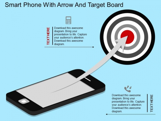 Smart Phone With Arrow And Target Board PowerPoint Template