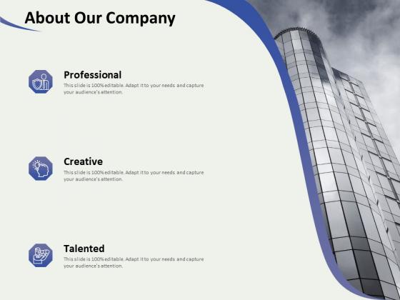 Social Enterprise Funding About Our Company Ppt PowerPoint Presentation Show Slide Portrait PDF
