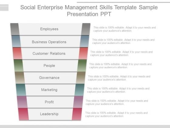 Social Enterprise Management Skills Template Sample Presentation Ppt