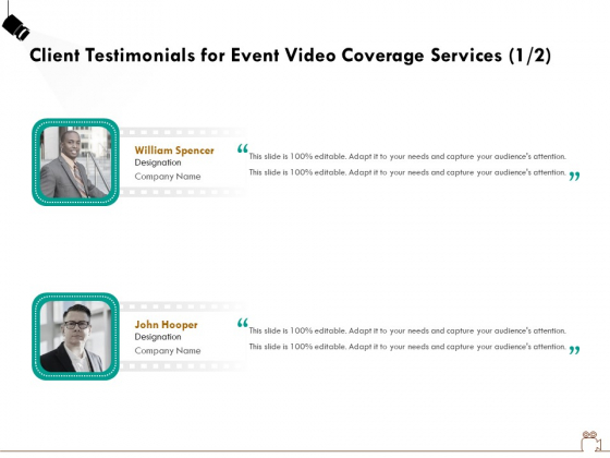 Social Gathering Movie Making Client Testimonials For Event Video Coverage Services Company Themes PDF