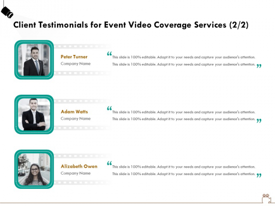 Social Gathering Movie Making Client Testimonials For Event Video Coverage Services Pictures PDF