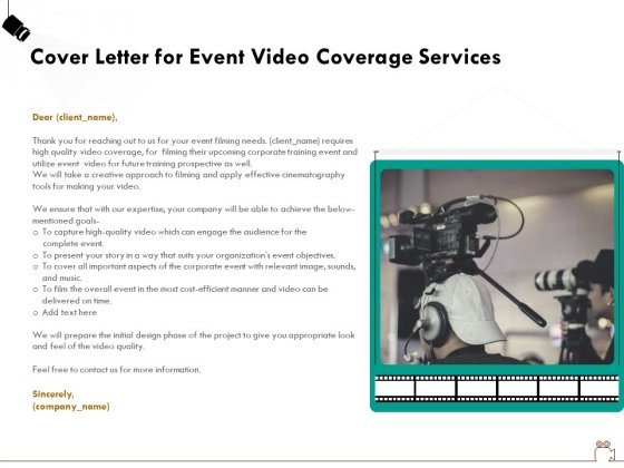 Social Gathering Movie Making Cover Letter For Event Video Coverage Services Background PDF