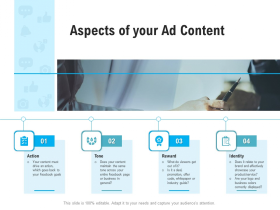 Social Media Advertisement Aspects Of Your Ad Content Ppt Gallery Slides PDF