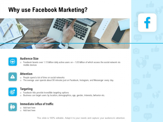 Social Media Advertisement Why Use Facebook Marketing Ppt Gallery Information PDF