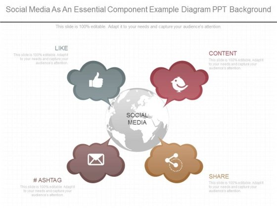 Social Media As An Essential Component Example Diagram Ppt Background