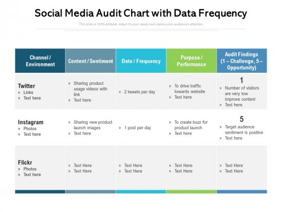 Social Media Audit Chart With Data Frequency Ppt PowerPoint Presentation File Background Designs PDF