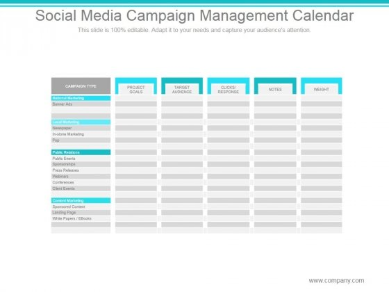 Social Media Campaign Management Calendar Ppt PowerPoint Presentation Clipart