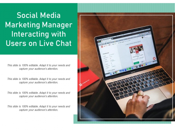Social Media Marketing Manager Interacting With Users On Live Chat Ppt PowerPoint Presentation Infographics Graphic Tips PDF