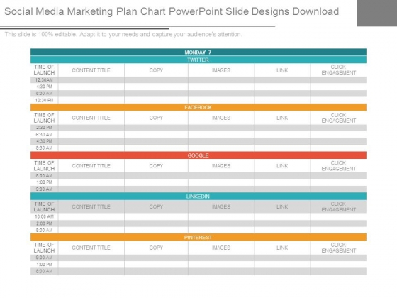 Social Media Marketing Plan Chart Powerpoint Slide Designs Download