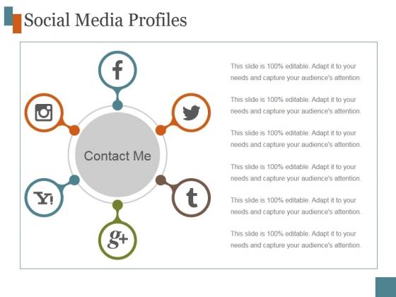 Social Media Profiles Ppt PowerPoint Presentation Design Ideas