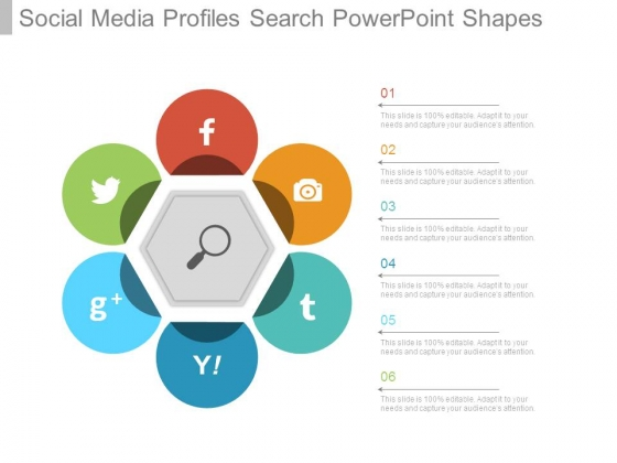social media profiles search powerpoint shapes powerpoint templates