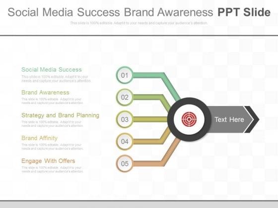 Social Media Success Brand Awareness Ppt Slide