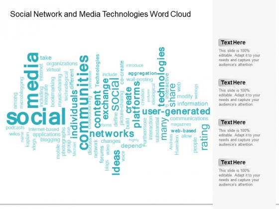 Social Network And Media Technologies Word Cloud Ppt Powerpoint Presentation Infographic Template Professional