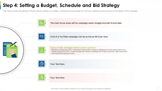 Social Platform As Profession Step 4 Setting A Budget Schedule And Bid Strategy Ppt Professional Gridlines PDF