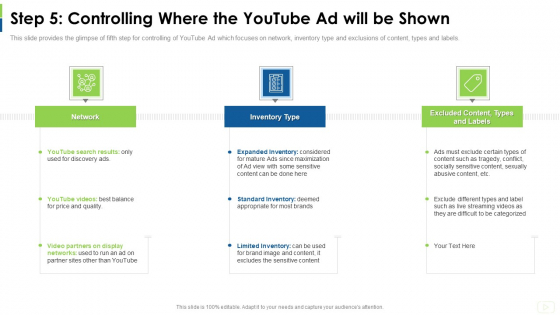 Social Platform As Profession Step 5 Controlling Where The Youtube Ad Will Be Shown Designs PDF