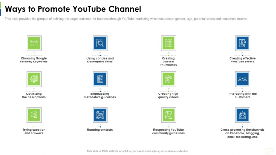 Social Platform As Profession Ways To Promote Youtube Channel Ppt Professional Graphics Download PDF
